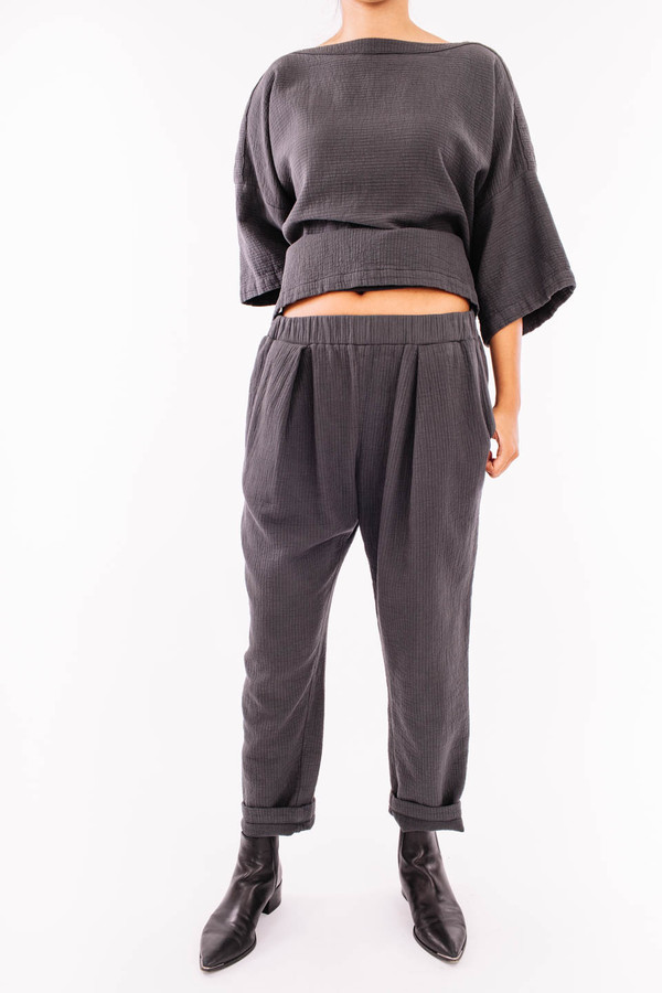 Black Crane Quilted Pant