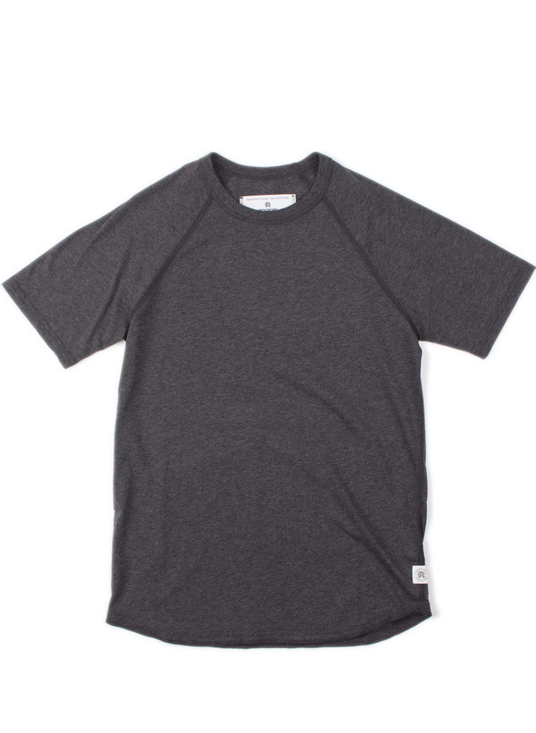 Reigning Champ Knit Cotton Jersey Raglan Tee H. Charcoal