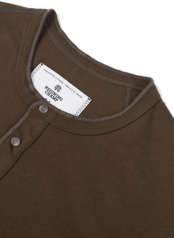 Reigning Champ Knit Ringspun Jersey Long Sleeve Henley Olive