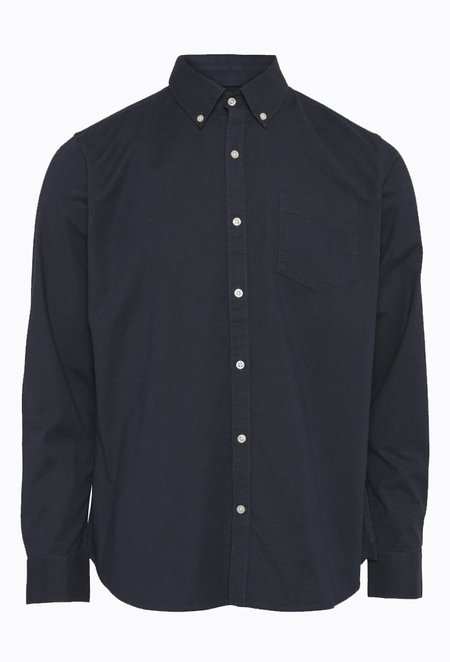 Knowledge Cotton ELDER Classic Stretch Oxford Shirt - Total Eclipse