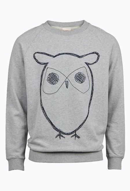 Knowledge Cotton ELM Big Owl Sweat - Grey Melange