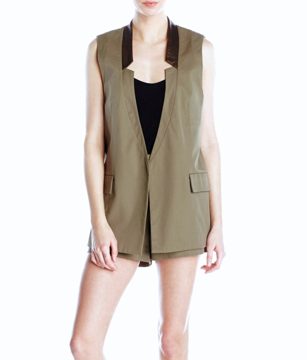 Vincetta Olive Notch Collar Vest
