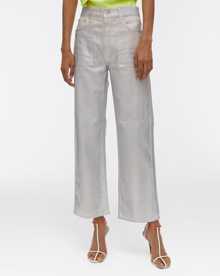 Helmut Lang Lacquered Utility Patch Pocket Jeans - Silver Ecru