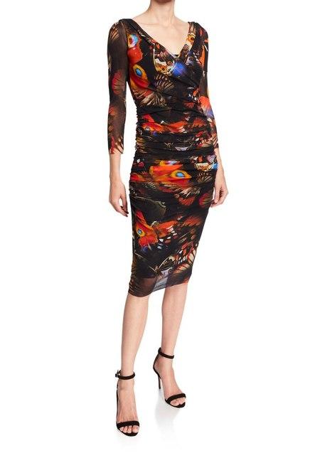 Fuzzi v neck fitted dress butterfly print - deep orange