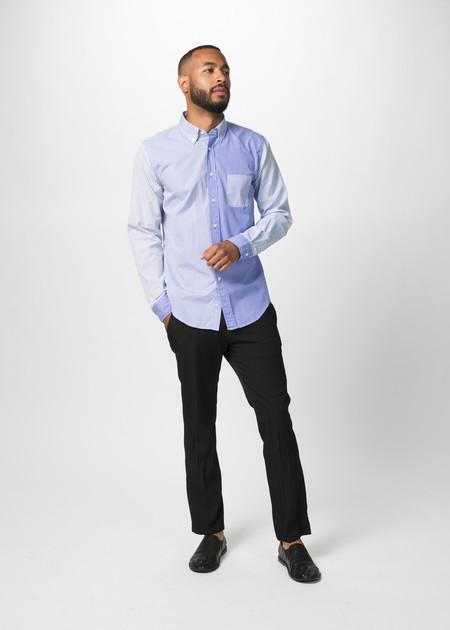 Wooster + Lardini Panel Woven Stripe Shirt - Blue