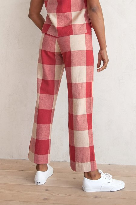 Ali Golden SILK FLY FRONT PANT - RASPBERRY GINGHAM