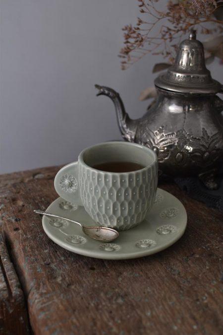 OWO Cerámica Victorian Green Cup & Saucer Set