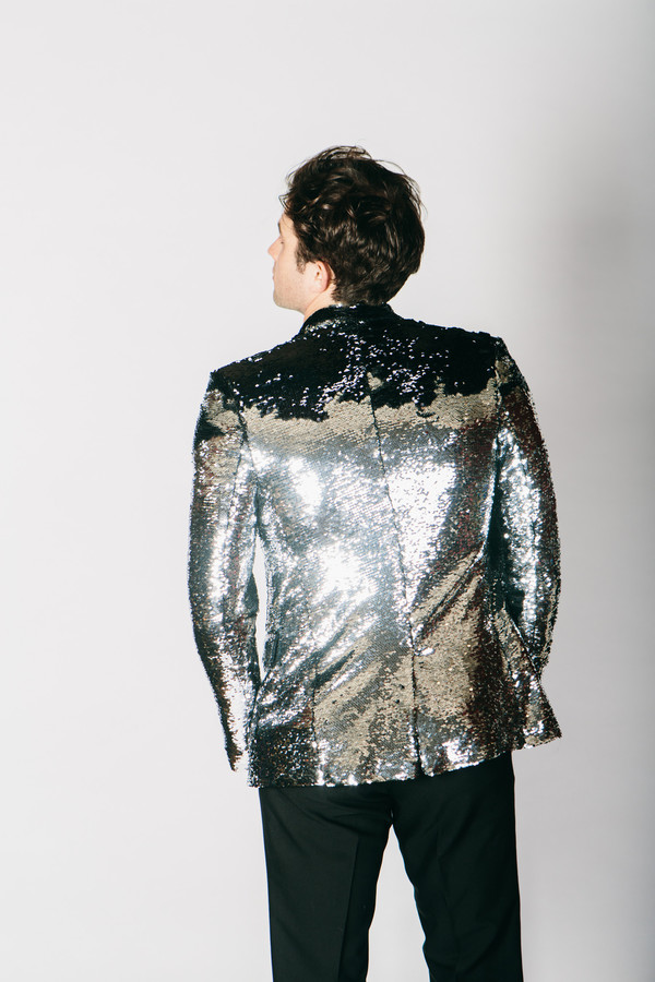 Men's Any Old Iron Black/Silver Sequin Jacket