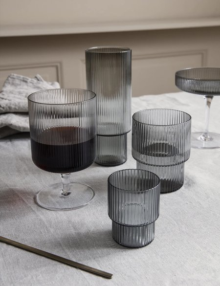 Ferm Living Ripple Long Drink Glasses Set of 4 - Smoked Grey