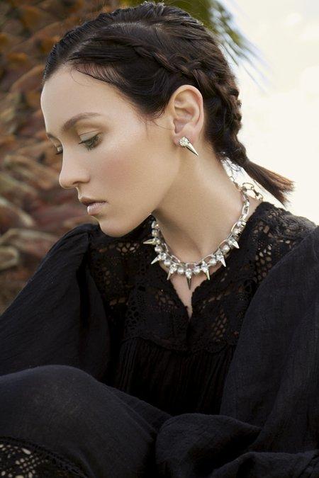 Pearl & Crystal Stud Spikes Earrings - Rhodium/Crystal/White