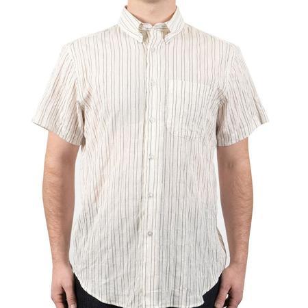 Naked & Famous SS Easy Shirt Standard Stripe - Ecru