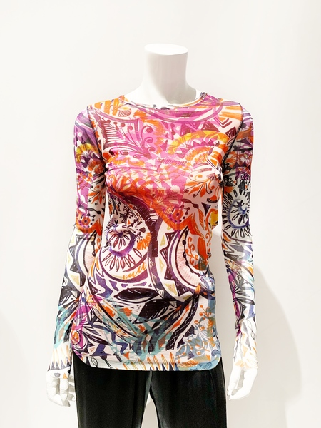 Fuzzi fitted slim blouse abstract happy print - orange