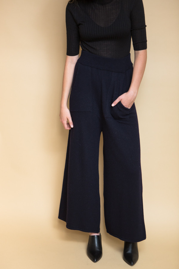 Achro Wide Leg Knit Pants - Navy