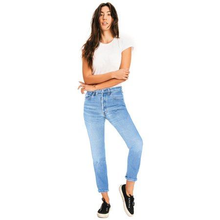 Re/Done High Rise Ankle Crop Jeans - Indigo