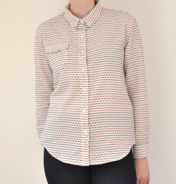 "Bridge & Burn ""Bird"" Red and Blue Stripe Button Up"