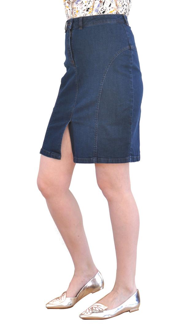 """Courtshop """"Vicki"""" Denim Pencil Skirt in Dark Denim"""