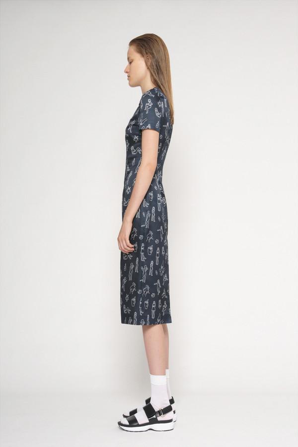 "Diarte ""Manel"" Printed Short Sleeve Silk Cotton Dress"