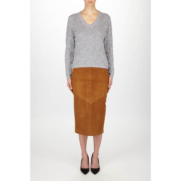 """Just Female """"Ventura"""" Knit Deep V Cable Melange Sweater"""