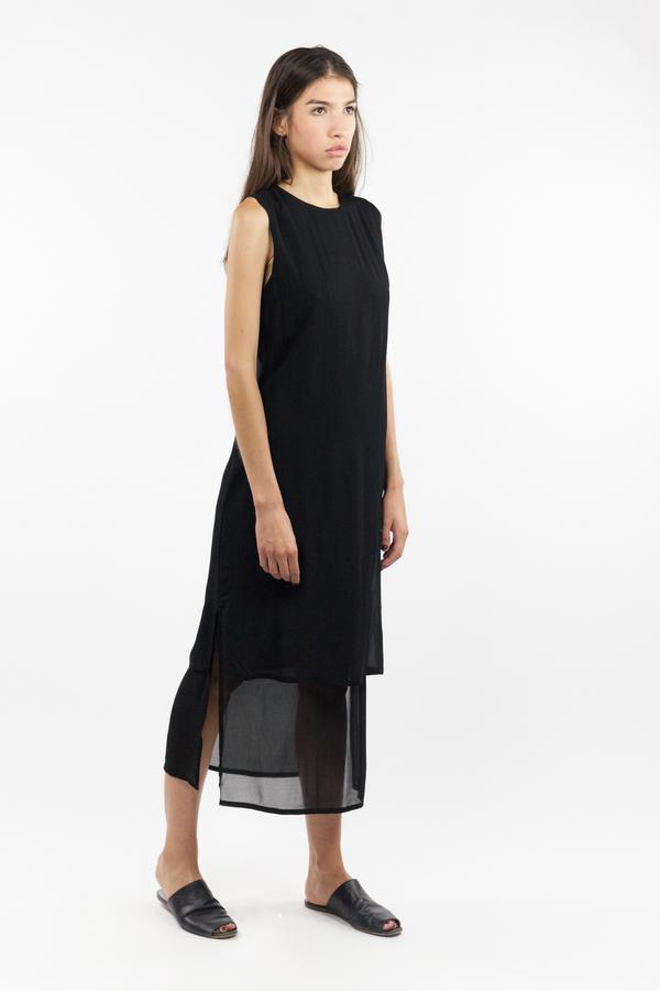 7115 by Szeki Sleeveless Layered Dress - Black