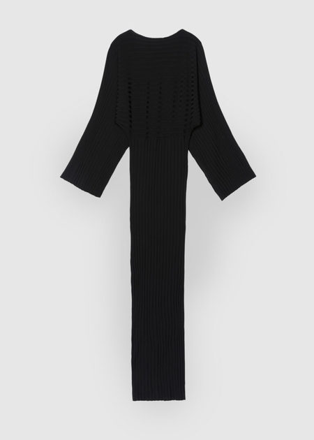 Totême RIB KNITTED TUBE DRESS WITH LONG WIDE SLEEVES