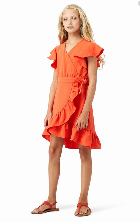 Kids Habitual Girl Wrap Dress - Orange
