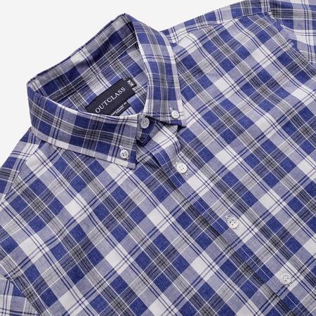 Outclass Attire Long-Sleeve Shirt - Blue & White Check