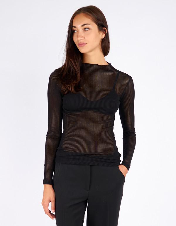 Just Female Ane Neck T-Shirt Black