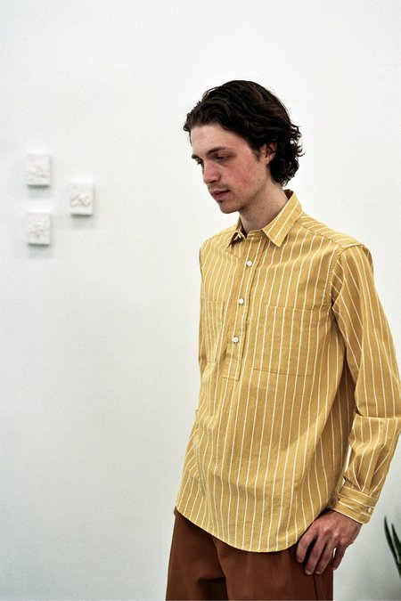 Paa LS Popover Shirt - Two Canary/White Stripe