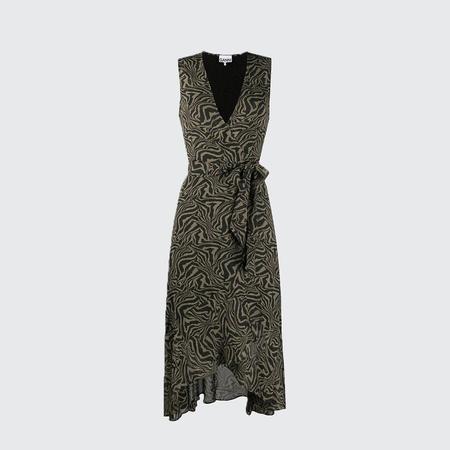 Ganni Sleeveless Georgette Wrap Dress - KALAMATA