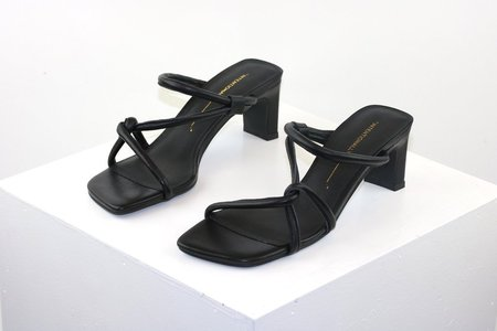 """INTENTIONALLY __________."" Willow Strappy Heels - Black Leather"