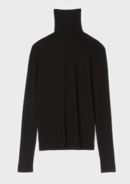 Totême TRANSPARENT JERSEY TOP WITH ROLL NECK
