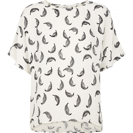 "Just Female ""Fly"" Short Sleeve Printed Blouse"