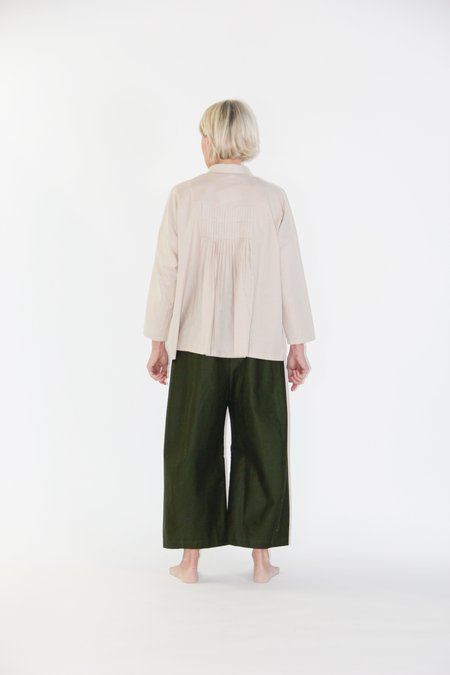 Evam Eva fine pleated square shirt - muted pink / tan / light taupe