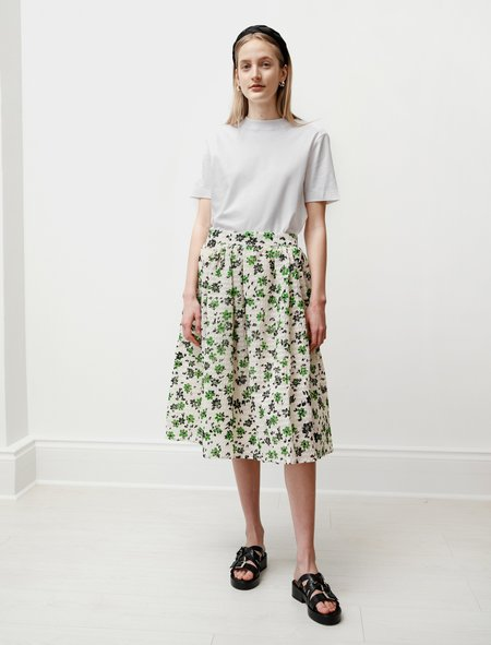 Shrimps Womens Wade Gathered Skirt in Green/Cream