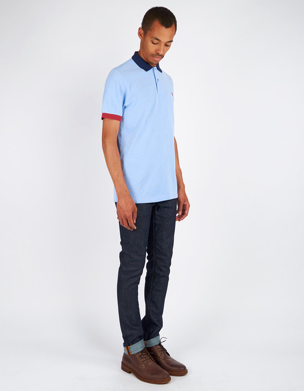Men's Fred Perry Colour Block Pique Shirt Light Smoke Oxford