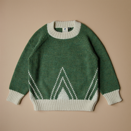 Kids Granelito Alpaca Sweater with Embroidery - Green