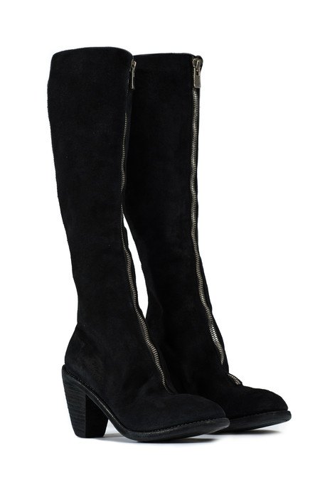Guidi 3010fz front zip knee high black boots