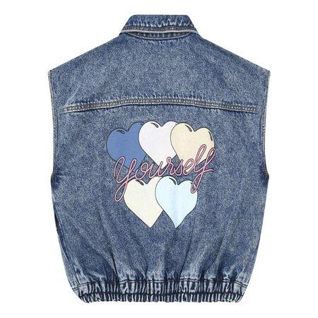 Kids hundred pieces love yourself jacket - denim
