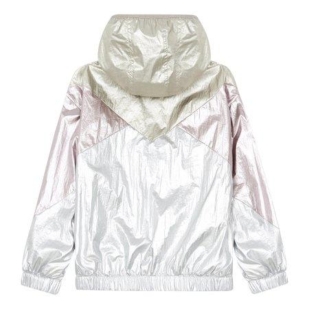 Kids hundred pieces shiny waterproof windbreaker jacket - silver