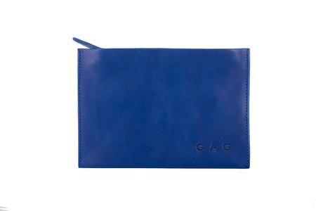 Gag Bag Leather Zipped Pouch - Indigo