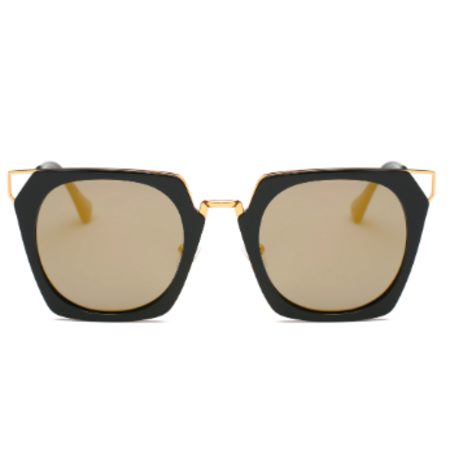 Persons Cat Eye Sunglasses with Amber Mirrored Lenses - Black