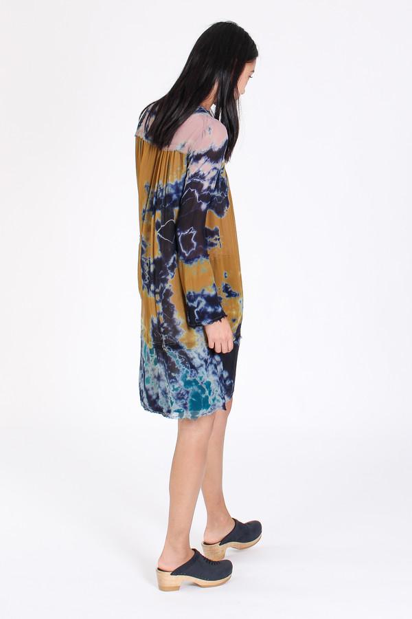 Raquel Allegra Bell sleeve vintage dress in multi