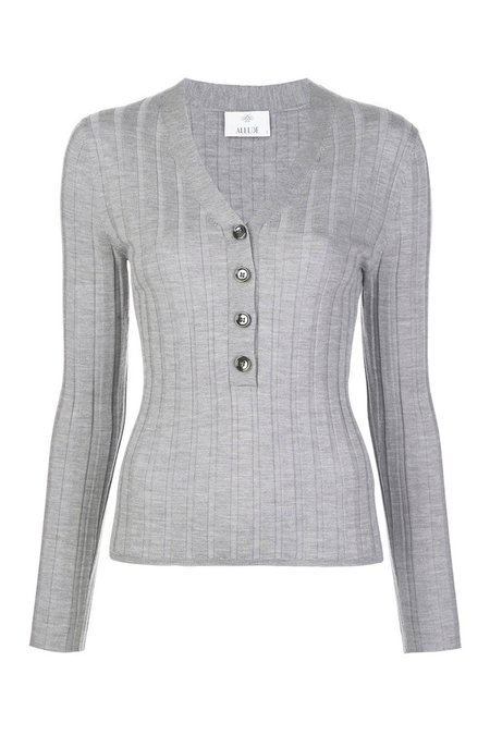 Allude V-Neck Knit Pullover - Heather Grey