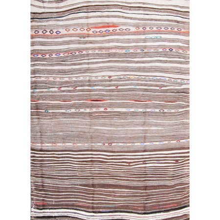 Vintage Moroccan Flat Weave Wool Rug - Brown/Cream