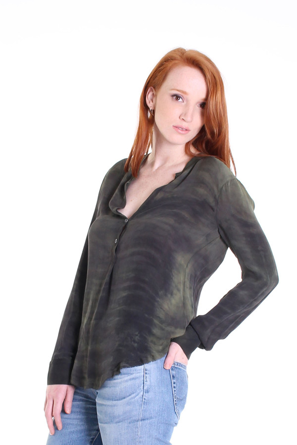 Raquel Allegra Georgette henley blouse in olive