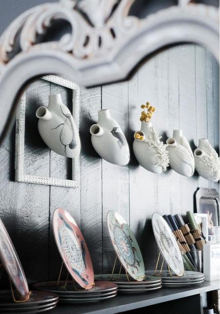 Studio Elica Reticulum Porcelain Anatomical Heart Wall Vase
