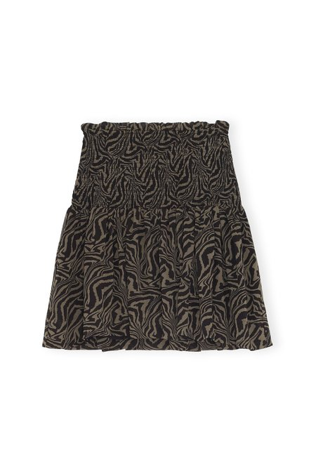 Ganni Printed Georgette Smock Skirt - Kalamata