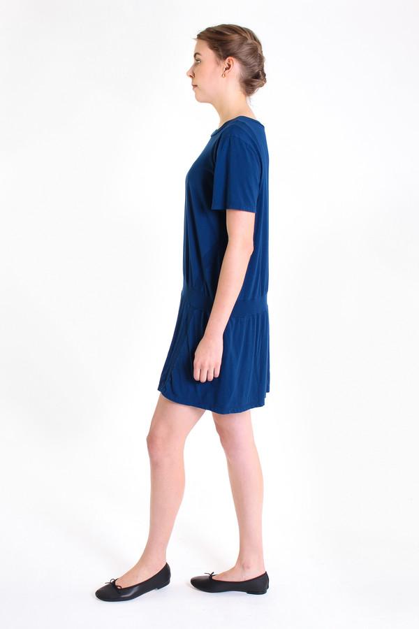 Clu Paneled short sleeve dress in Sea Blue