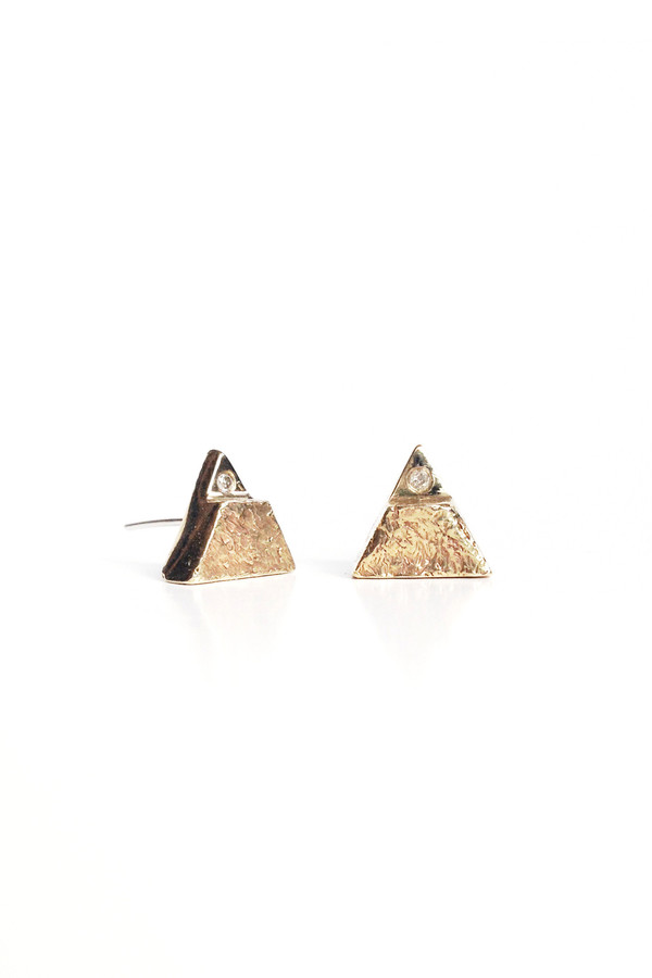 The Things We Keep Vitae studs in brass/white diamond