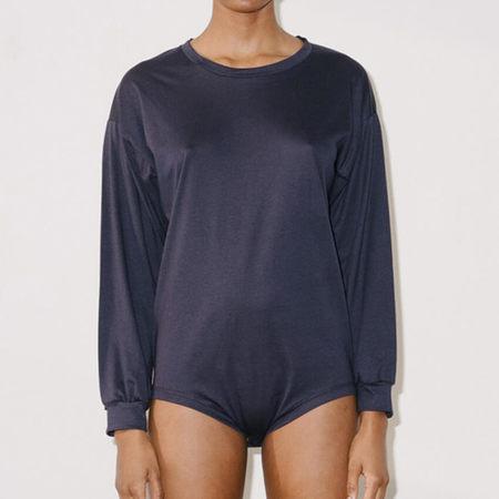 Baserange Michael Tee Body in Cotton Silk - Navy